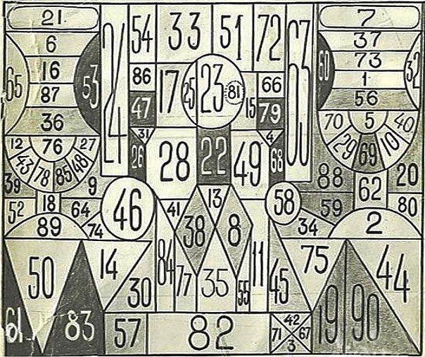 Пример старой бумажной таблицы Шульте