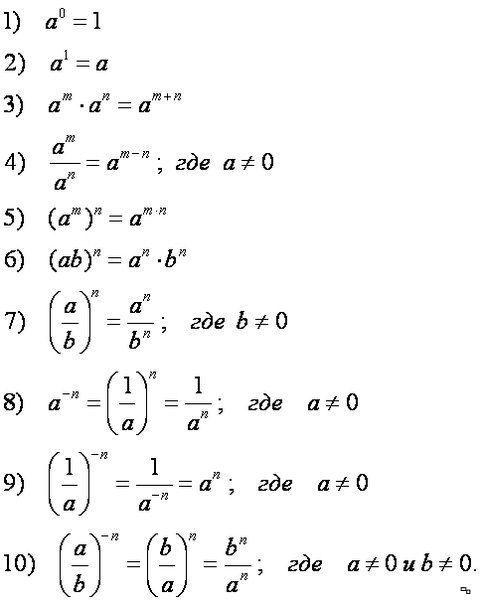Возведение в степень, формулы