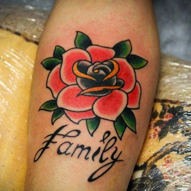 Цветная тату розы на предплечье для мужчин и женщин