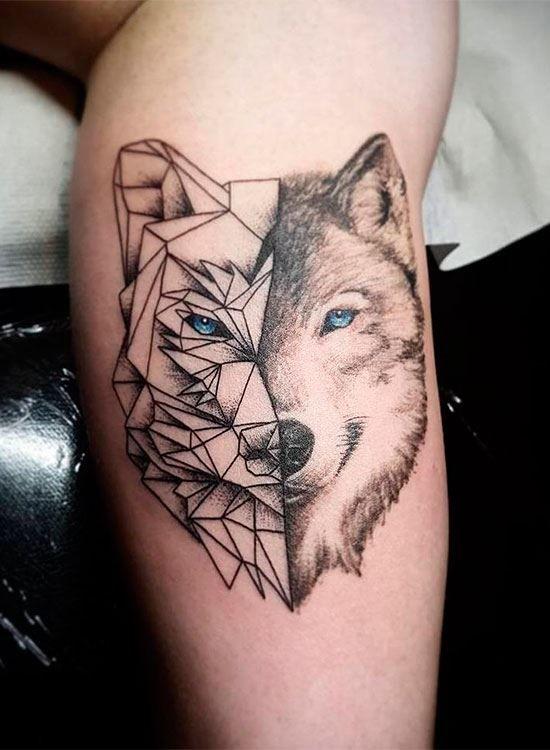 Тату волка геометрия на ноге для мужчин