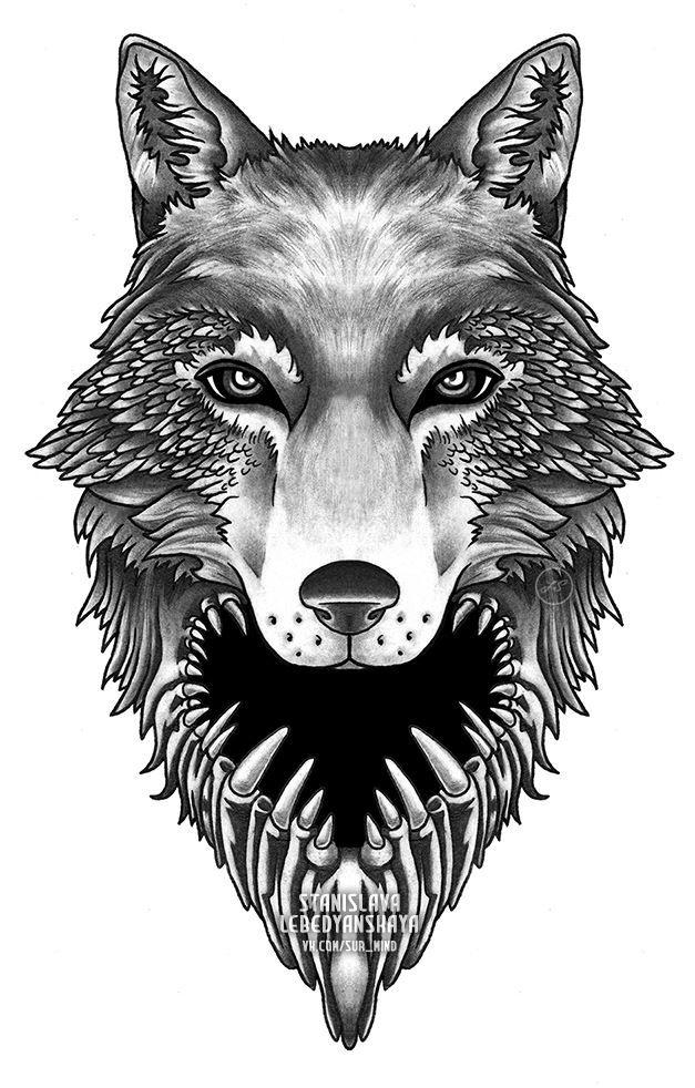 Эскиз головы волка для мужчин и женщин