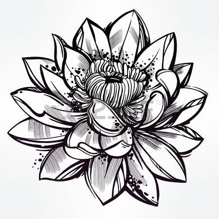 Эскиз цветка лотос для тату девушке