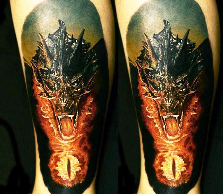 Тату дракона на ноге для женщин и мужчин
