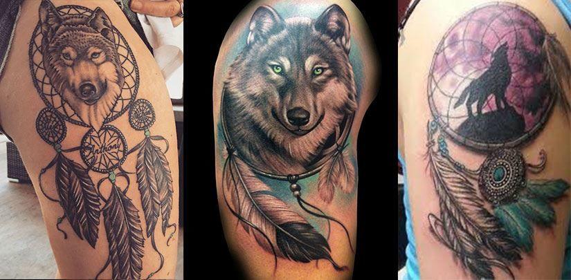 Тату ловец снов с волком