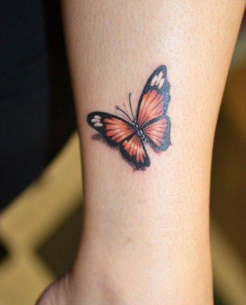 Тату бабочки на ноге для женщин