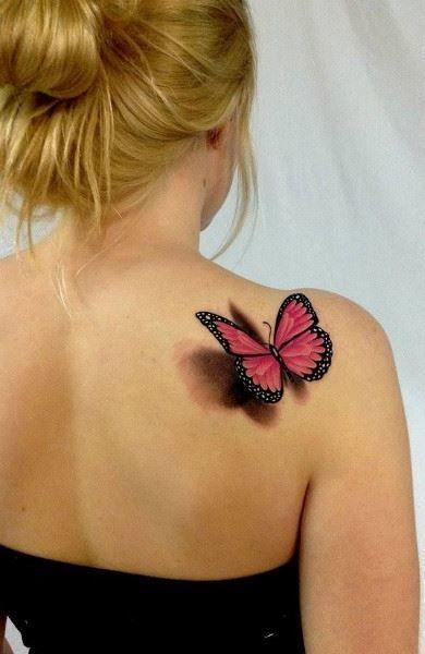 Тату бабочки на спину для женщин
