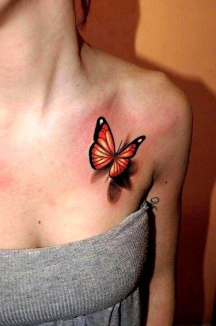 Бабочка на ключице, Женское тату