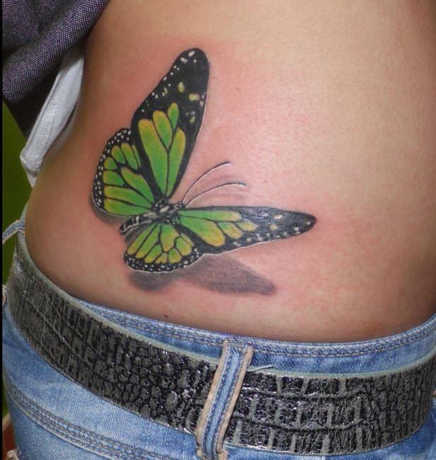 тату бабочки на пояснице для женщин