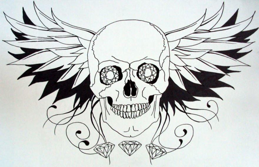 Эскиз тату черепа с крыльями