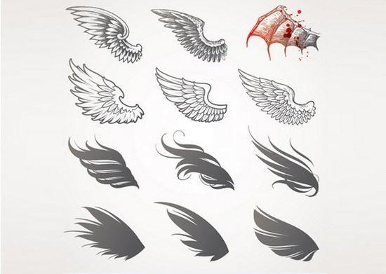 Эскиз крыльев ангела и дракона на руку спины, идеи тату