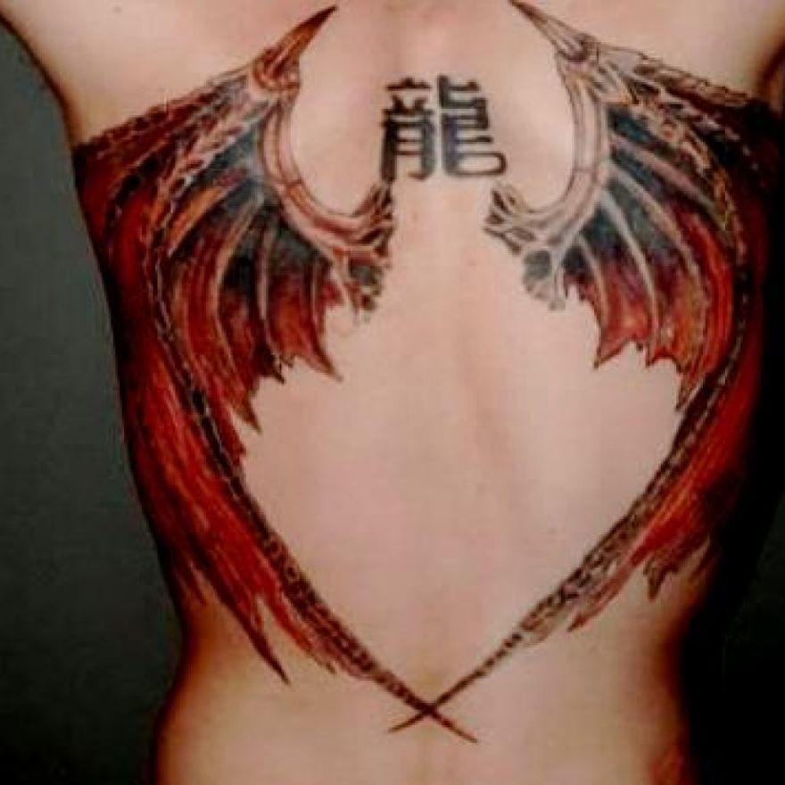 Крылья дракона на спине для мужчины и женщины