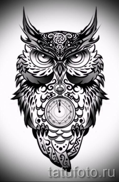 Эскиз тату совы для мужчины и женщины