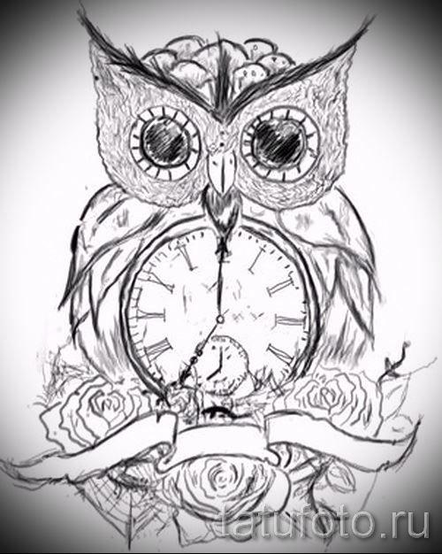 Эскиз для тату совы и часов для мужчины