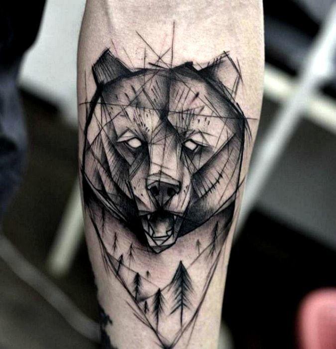 Тату черного медведя в геометрии на руке для мужчин