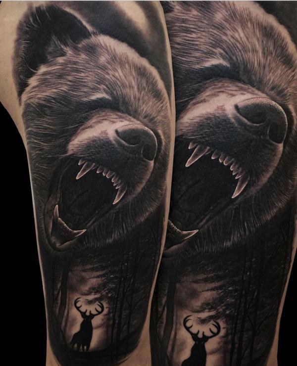 Идея для рукава с медведем с открытой пастью