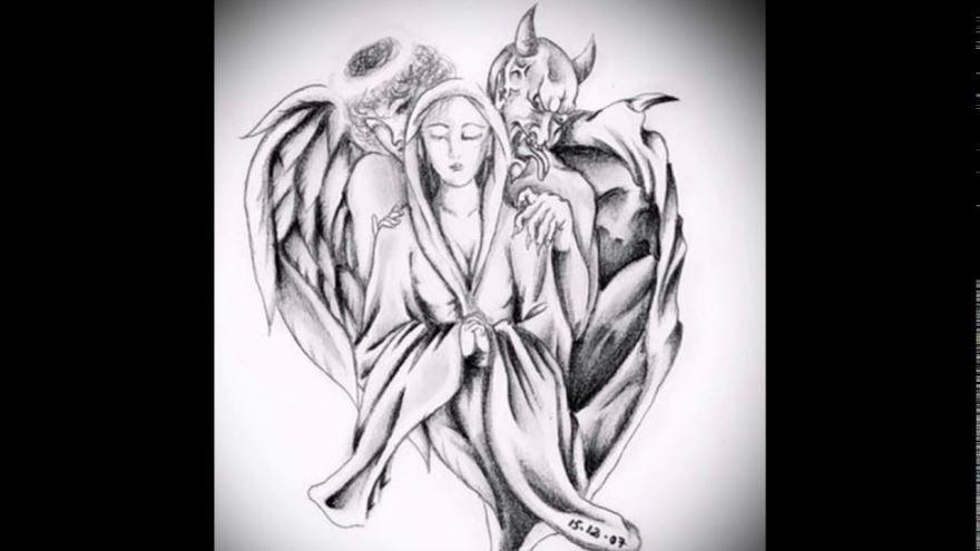 Тату ангела и демона для мужчины и женщины