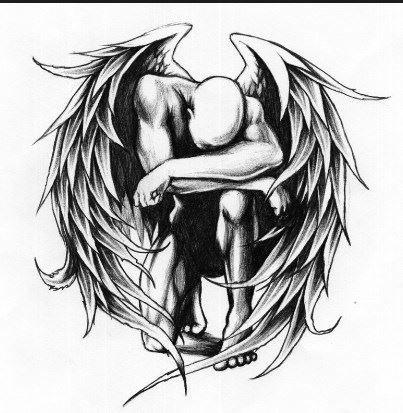Черный ангел, отличная идея для тату женщине