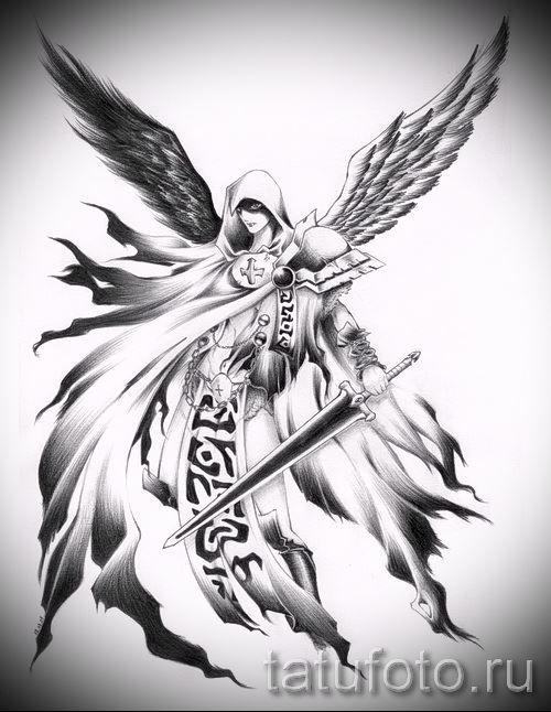 эскиз ангела с мечом