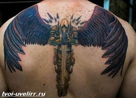 Тату падшего ангела на спине для мужчин