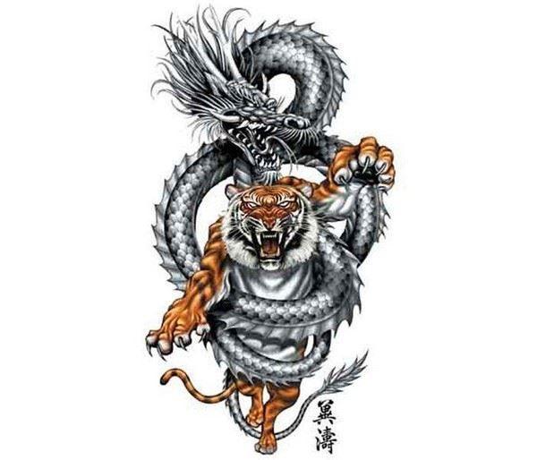 Тату тигра и дракона для мужчины на спину или грудь