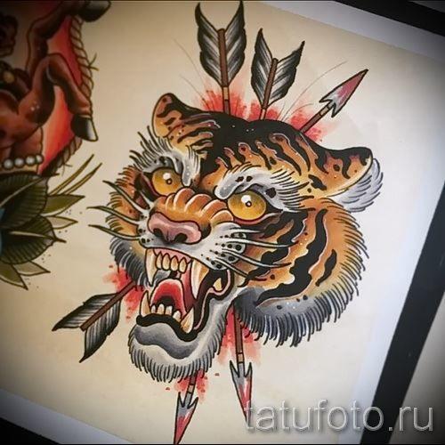 Тату японского тигра на грудь для мужчины