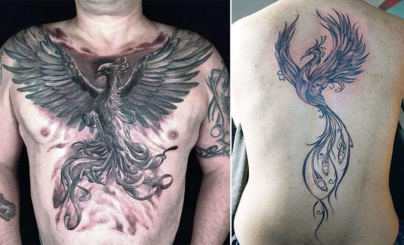 Тату феникса на груди и спине для мужчины
