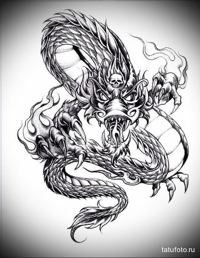 Рисунок тату дракона на груди