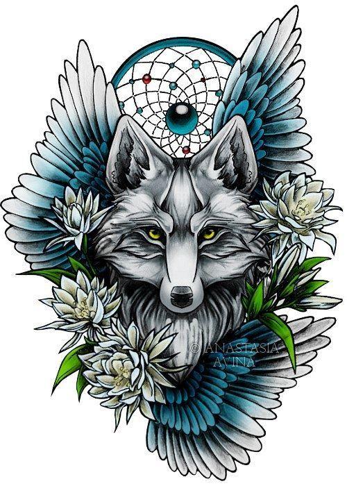 Рисунок лисы и ловца снов для девушки