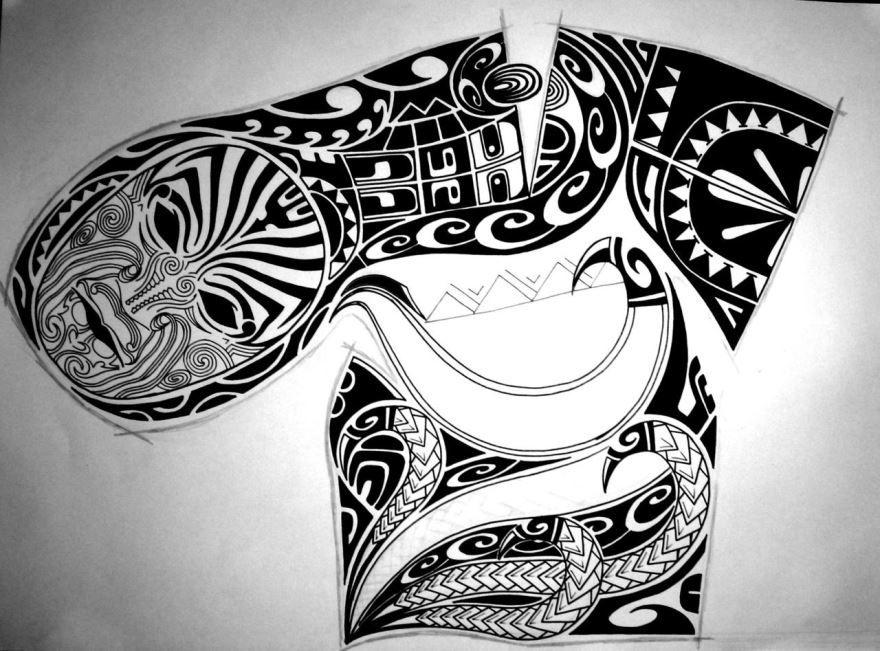эскиз тату полинезия для мужчины на плечо и грудь