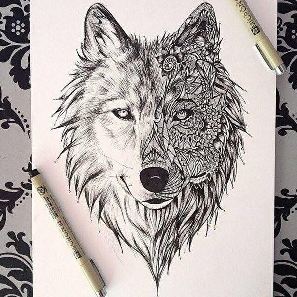 Эскиз тату волка с узорами на спину для мужчин и женщин