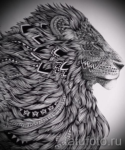 эскиз тату льва для девушки
