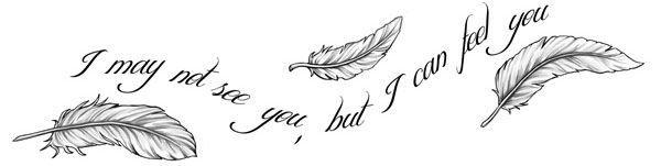 Эскиз тату надписи с переводом - я не могу видеть тебя, но могу чувствовать