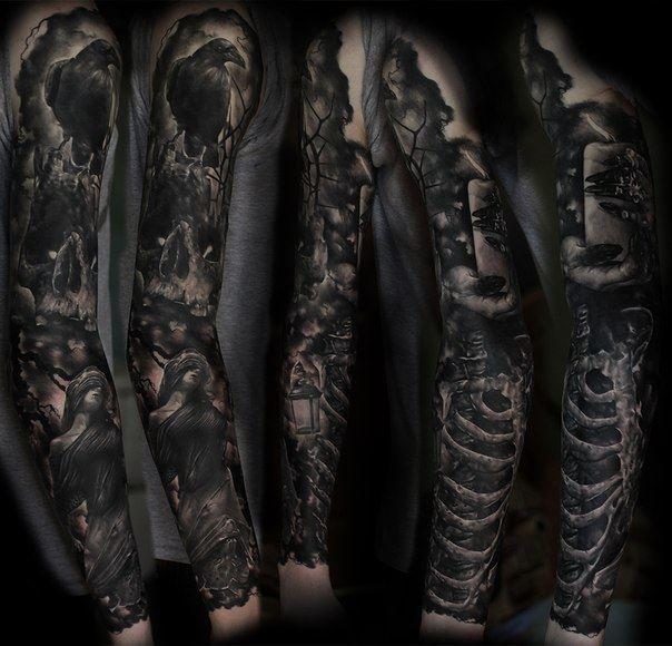 Черные тату рукава для мужчин