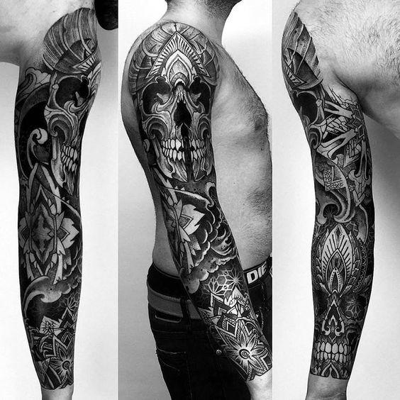 Черный тату рукав для мужчины