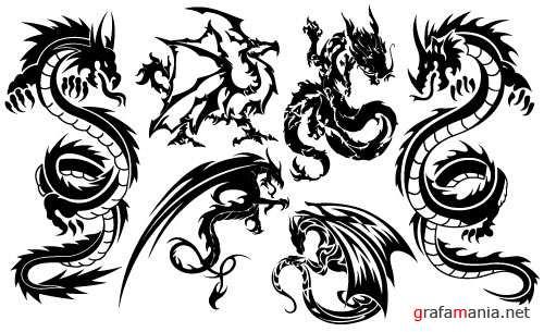 Эскизы тату черных драконов на плечо или предплечье