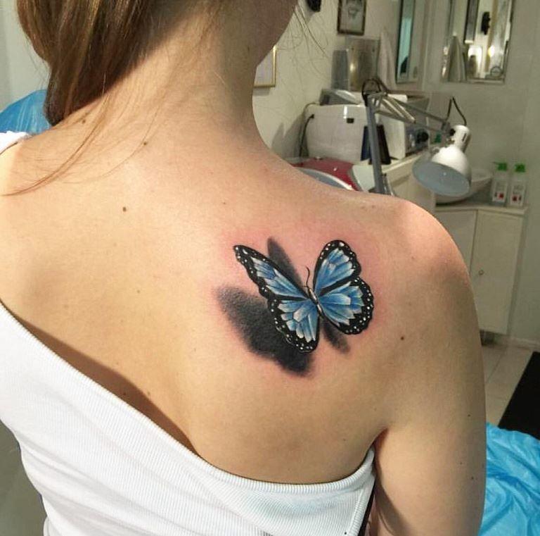 Тату бабочки на лопатке для девушки