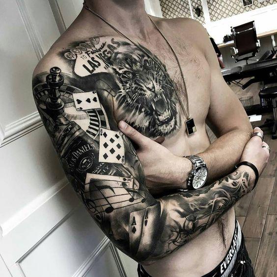 Черный тату рукав с тигром для мужчины