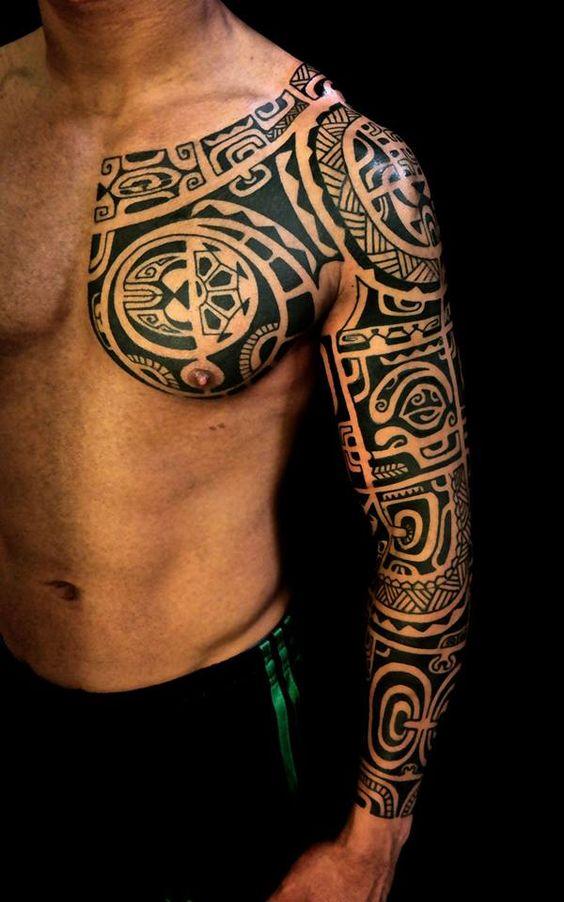 Тату рукав полинезия для мужчины