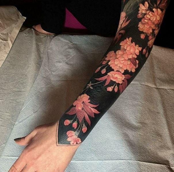 Тату рукав с цветами