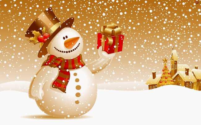 Снеговик с подарком на новый год, на улице сугробы, идет снег