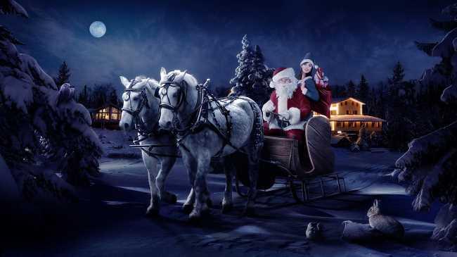 Дед мороз со снегурочкой в лошадиной упряжке