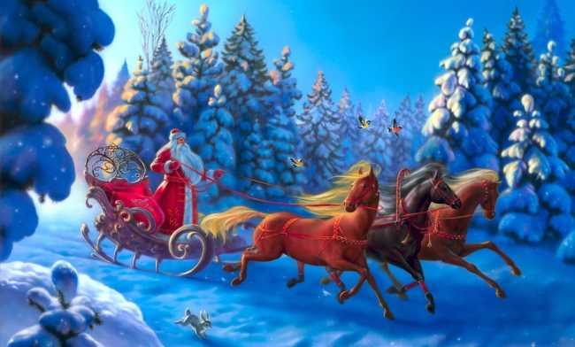 Дед мороз на санях с тремя лошадьми