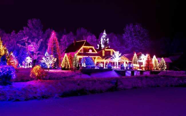 Новогодние дома украшенные гирляндами красиво светятся в темноте