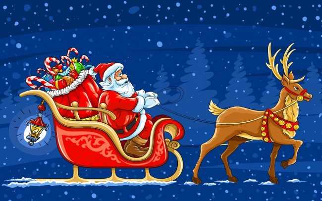 Дед мороз в оленьей упряжке с подарками