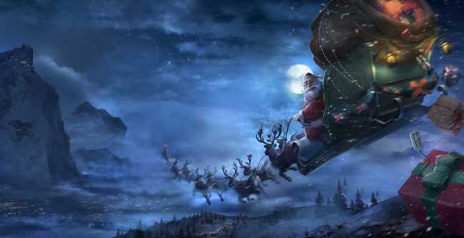 Дед мороз летит по небу на санях с оленьей упряжкой, магия, дед мороз раздает подарки