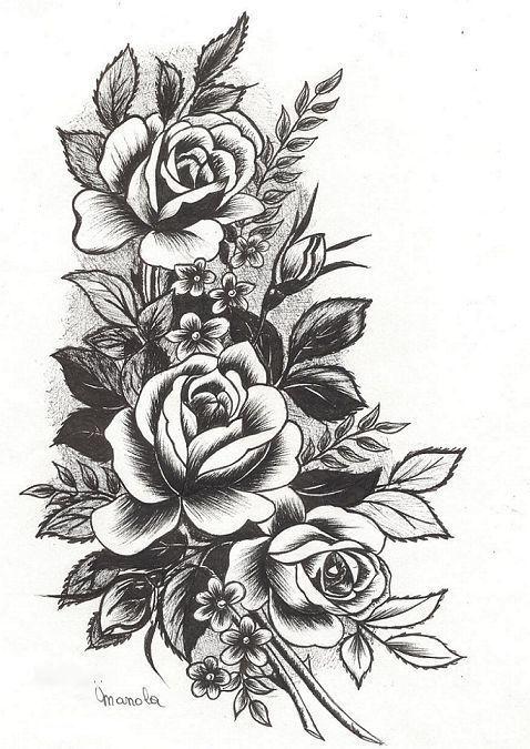 Эскиз черной тату роз от запястья до локтя