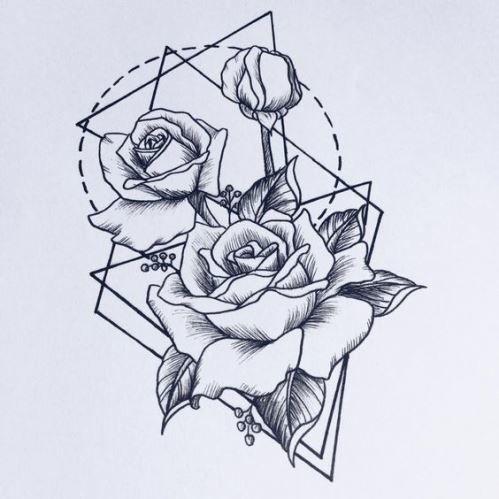 Эскиз роз на руку для девушек