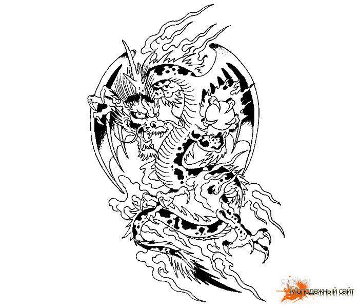 Эскиз тату дракона на руку