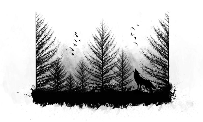 Эскиз тату леса на руку