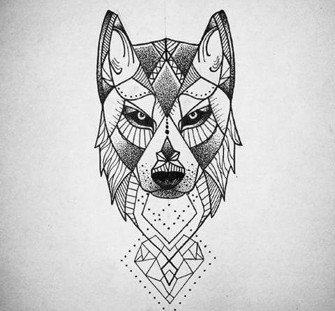 Эскиз волка на руку